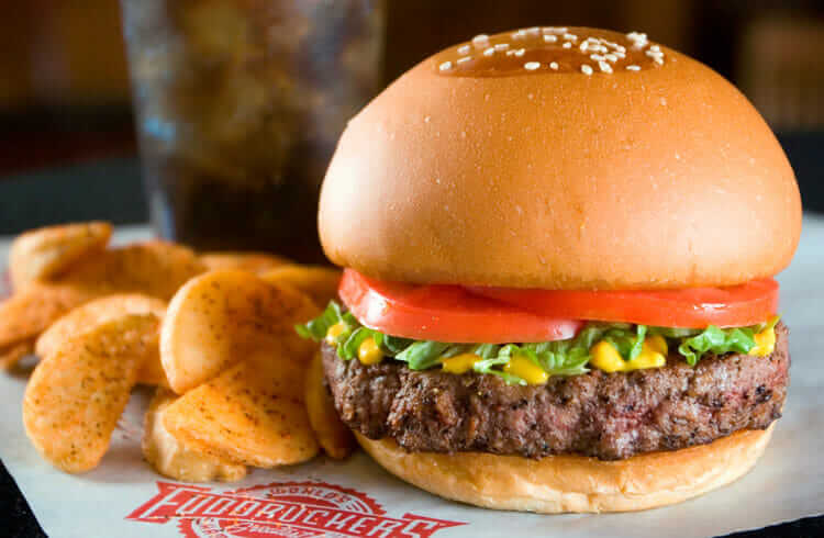 """The World's Greatest Hamburger"": Fuddruckers Healthy Exotic Burgers - Fast Food Menu Prices"