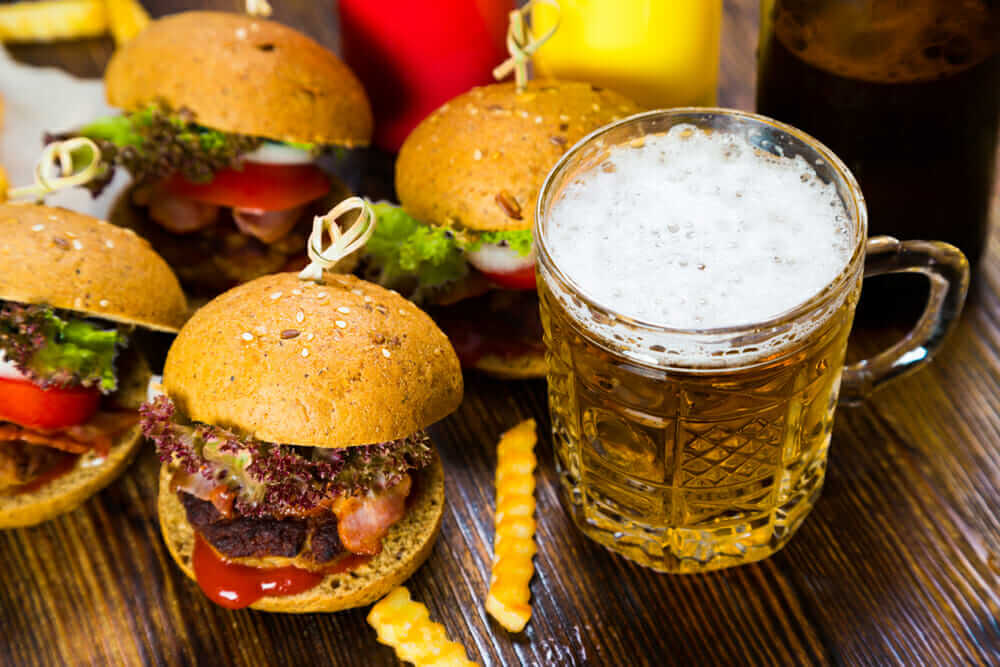 Hamburgers and beer