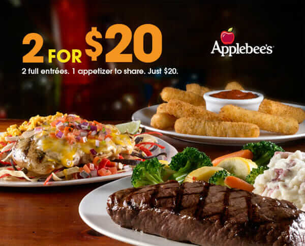 picture regarding Applebees Printable Menus titled Everyones Psyched in direction of Test Applebees 2 for $20 Menu