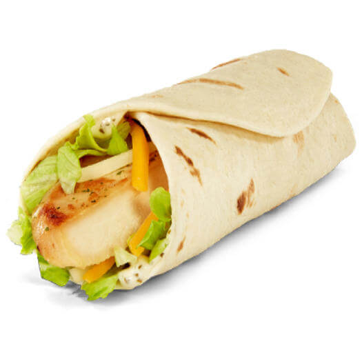 15 Cheap Fast Food Options | Grilled Chicken Snack Wrap | FastFoodMenuPrices.com