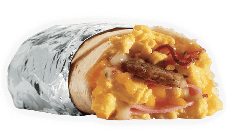15 Meals At Jack In The Box For 500 Calories Or Less | Meat Lovers Breakfast Burrito | FastFoodMenuPrices.com