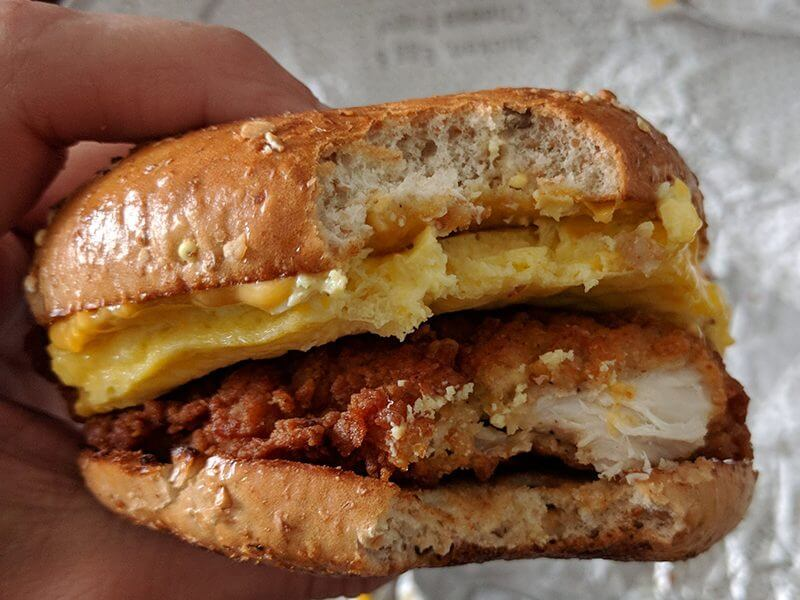 Chick-fil-A Breakfast Menu | Chicken, egg, and cheese bagel | FastFoodMenuPrices.com