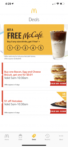 McDonald's App Deals Section