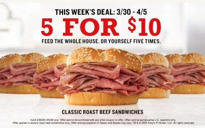 Arby's Rolls Out 5 for $10 Roast Beef Sandwich Deal