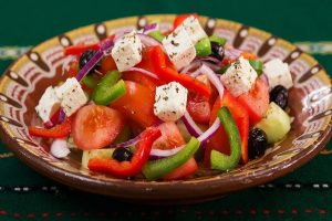 Greek salads at Taziki's